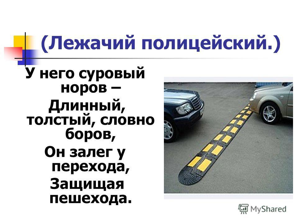 (Лежачий полицейский.) У него суровый норов – Длинный, толстый, словно боров, Он залег у перехода, Защищая пешехода.
