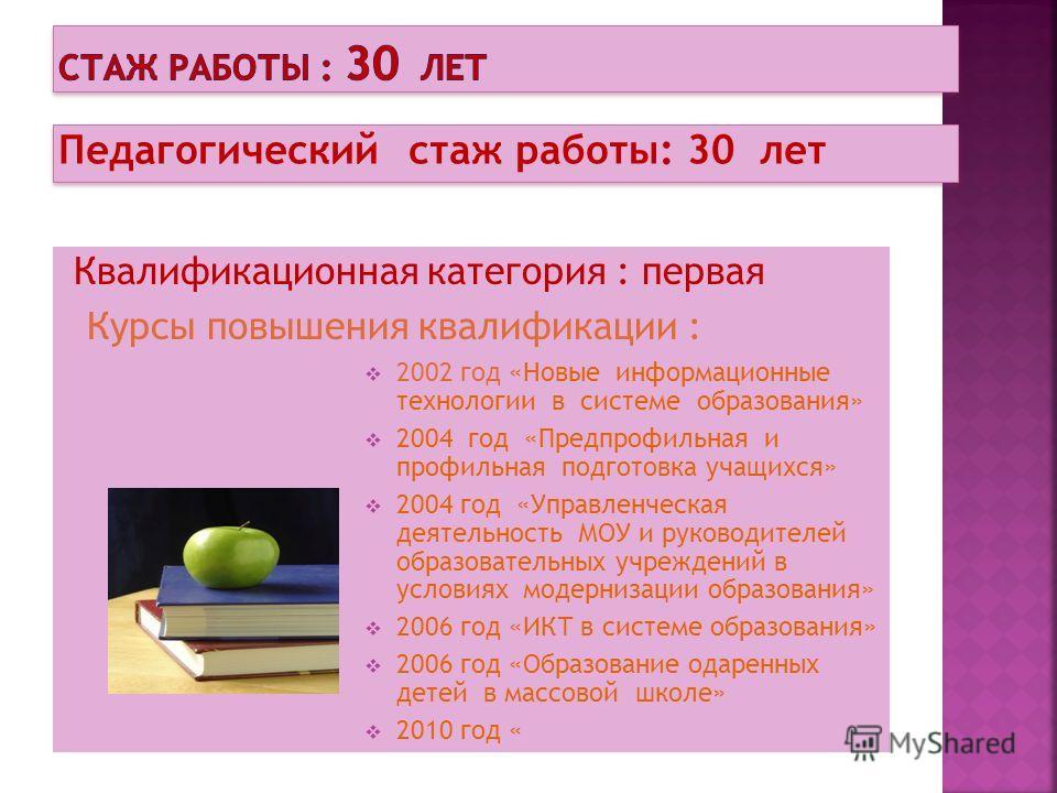 Педагогический стаж работы: 30 лет Квалификационная категория : первая Курсы повышения квалификации : 2002 год «Новые информационные технологии в системе образования» 2004 год «Предпрофильная и профильная подготовка учащихся» 2004 год «Управленческая
