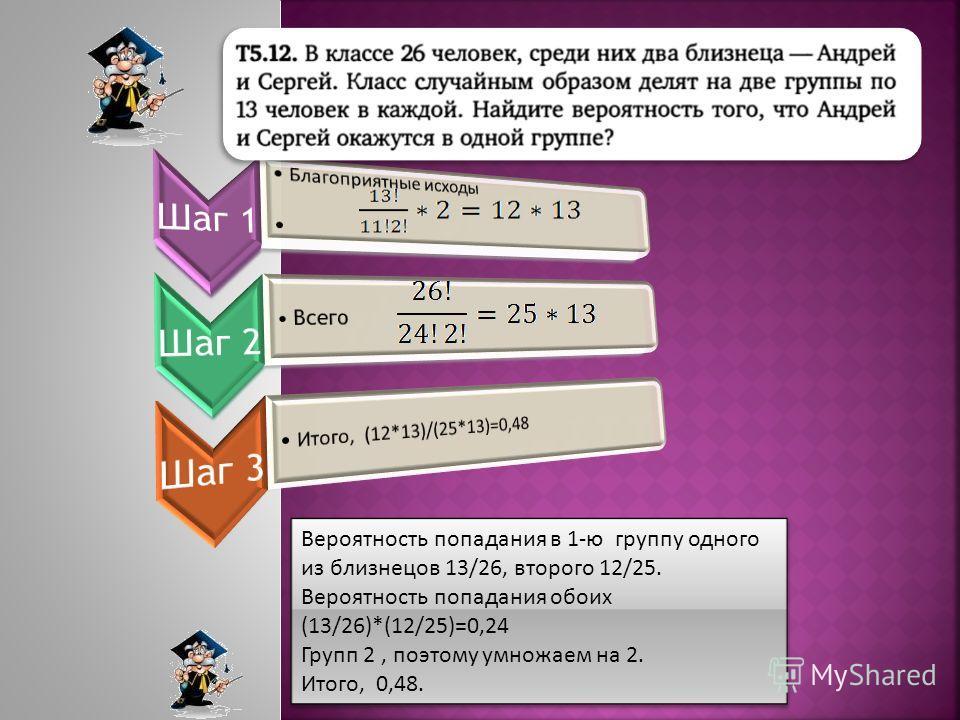 Вероятность попадания в 1-ю группу одного из близнецов 13/26, второго 12/25. Вероятность попадания обоих (13/26)*(12/25)=0,24 Групп 2, поэтому умножаем на 2. Итого, 0,48. Вероятность попадания в 1-ю группу одного из близнецов 13/26, второго 12/25. Ве
