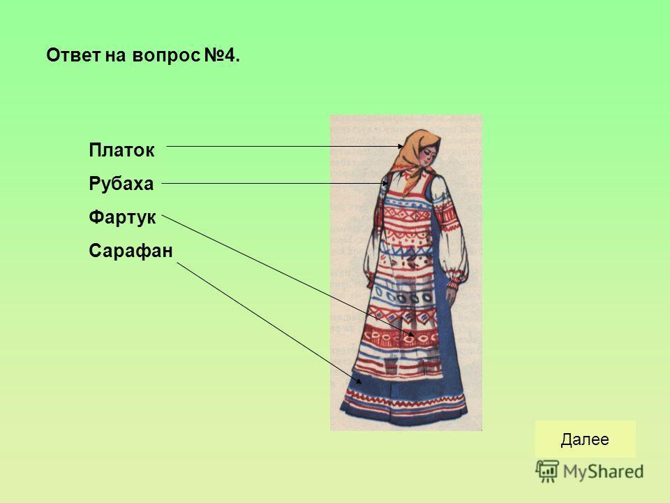 Вопрос 4. Какой была повседневная русская одежда у женщин? верноНеверноНачало