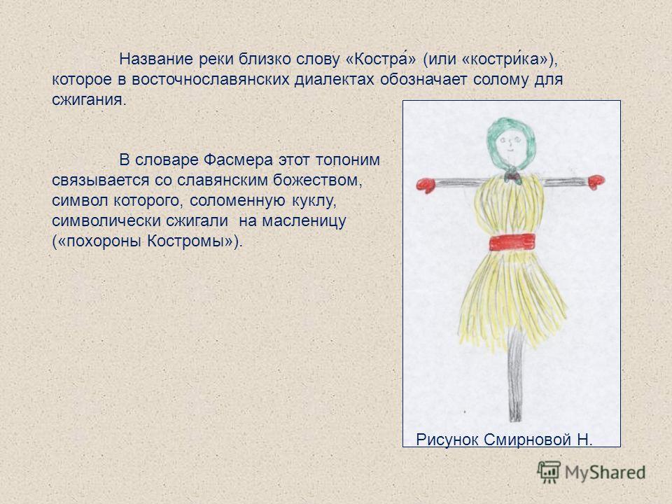 Название реки близко слову «Костра́» (или «костри́ка»), которое в восточнославянских диалектах обозначает солому для сжигания. В словаре Фасмера этот топоним связывается со славянским божеством, символ которого, соломенную куклу, символически сжигали