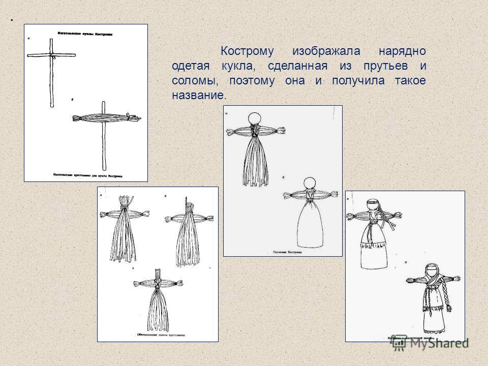. Кострому изображала нарядно одетая кукла, сделанная из прутьев и соломы, поэтому она и получила такое название.