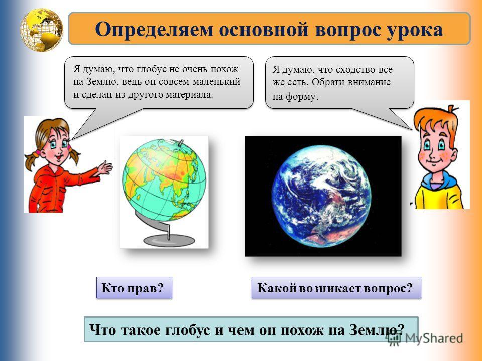 Определяем основной вопрос урока Я думаю, что сходство все же есть. Обрати внимание на форму. Я думаю, что глобус не очень похож на Землю, ведь он совсем маленький и сделан из другого материала. Кто прав? Какой возникает вопрос? Что такое глобус и че