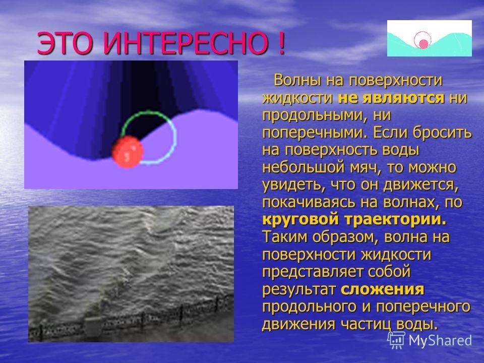 ЭТО ИНТЕРЕСНО ! Волны на поверхности жидкости не являются ни продольными, ни поперечными. Если бросить на поверхность воды небольшой мяч, то можно увидеть, что он движется, покачиваясь на волнах, по круговой траектории. Таким образом, волна на поверх