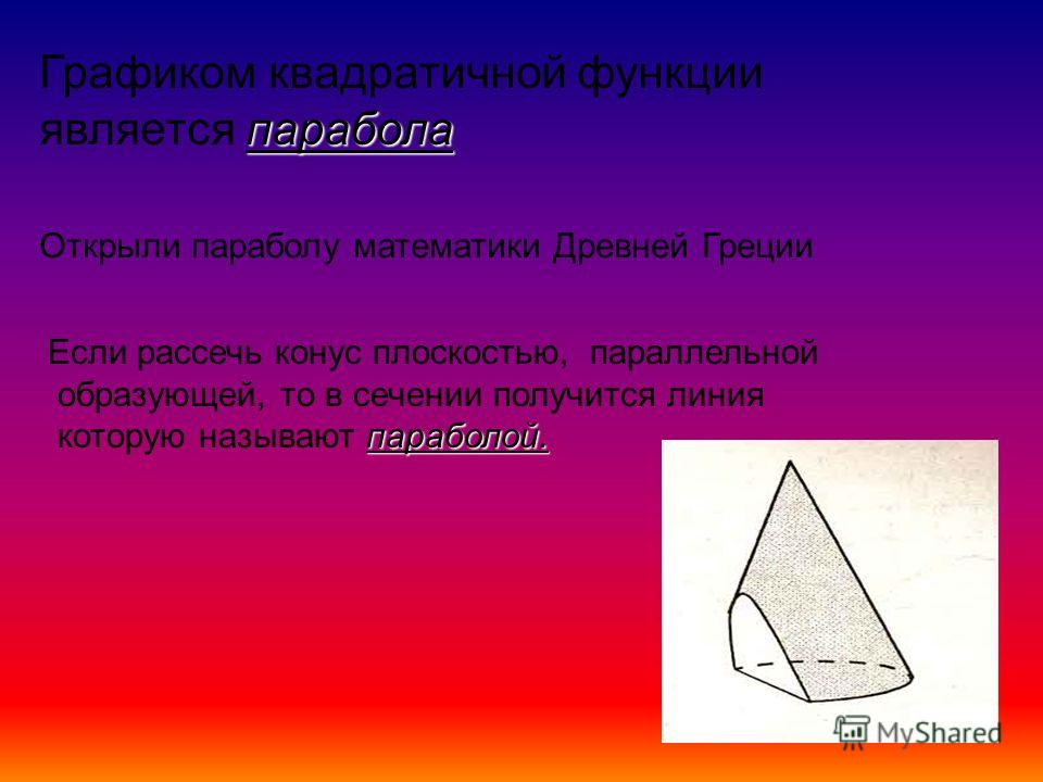 парабола Графиком квадратичной функции является парабола Открыли параболу математики Древней Греции Если рассечь конус плоскостью, параллельной образующей, то в сечении получится линия параболой. которую называют параболой.