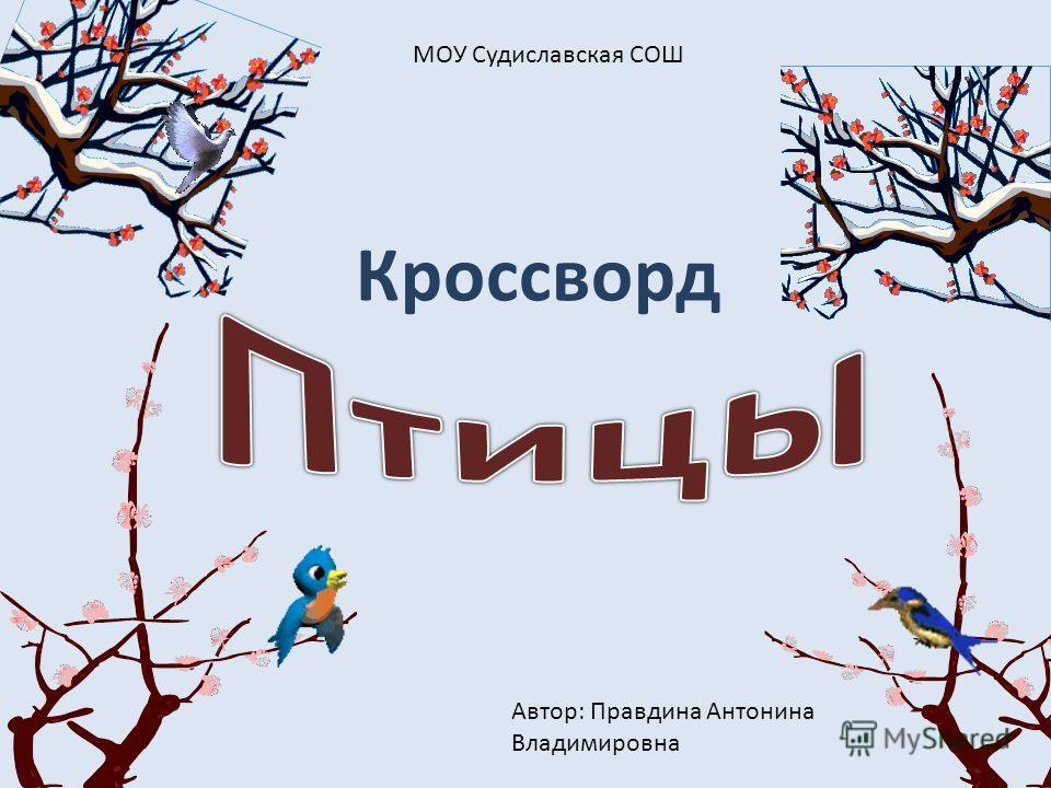 Кроссворд МОУ Судиславская СОШ Автор: Правдина Антонина Владимировна