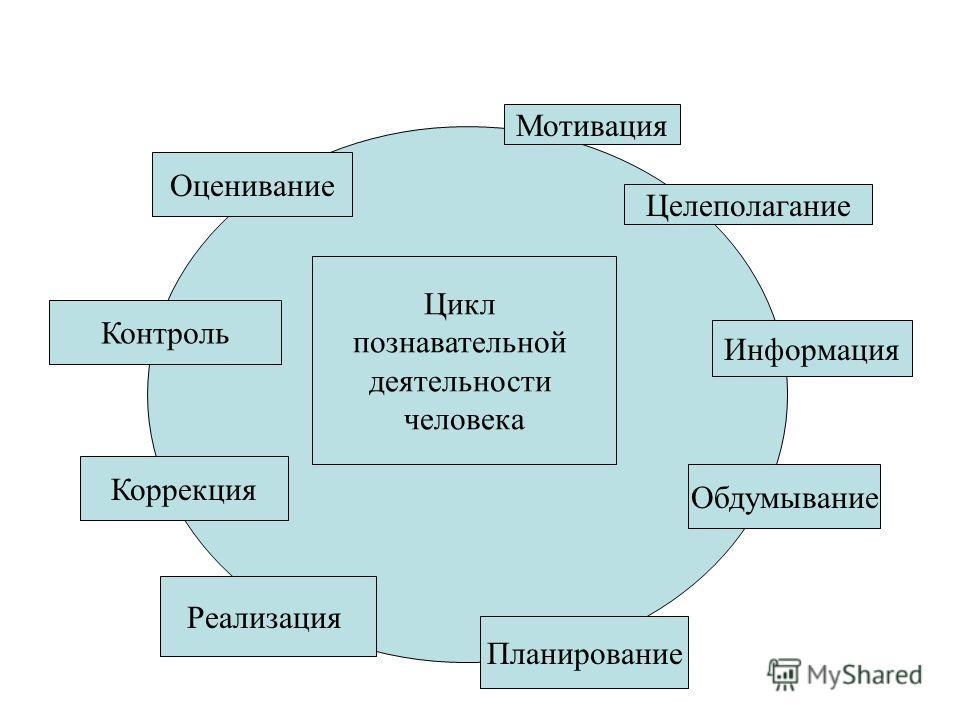 Мотивация Целеполагание Цикл познавательной деятельности человека Информация Обдумывание Планирование Реализация Контроль Оценивание Коррекция