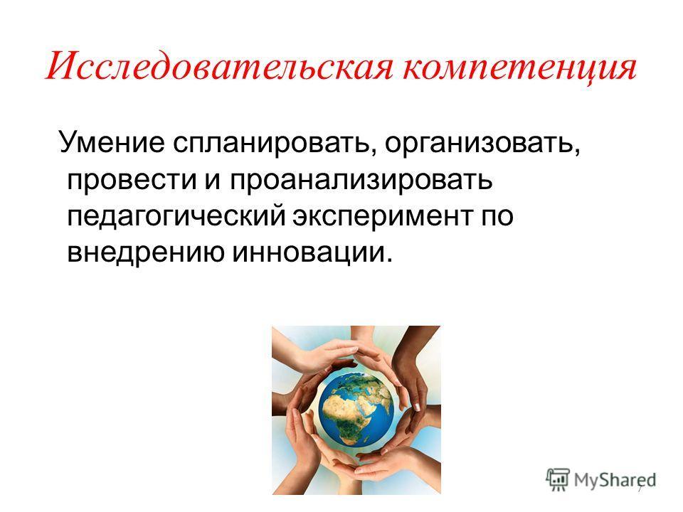 Исследовательская компетенция Умение спланировать, организовать, провести и проанализировать педагогический эксперимент по внедрению инновации. 7