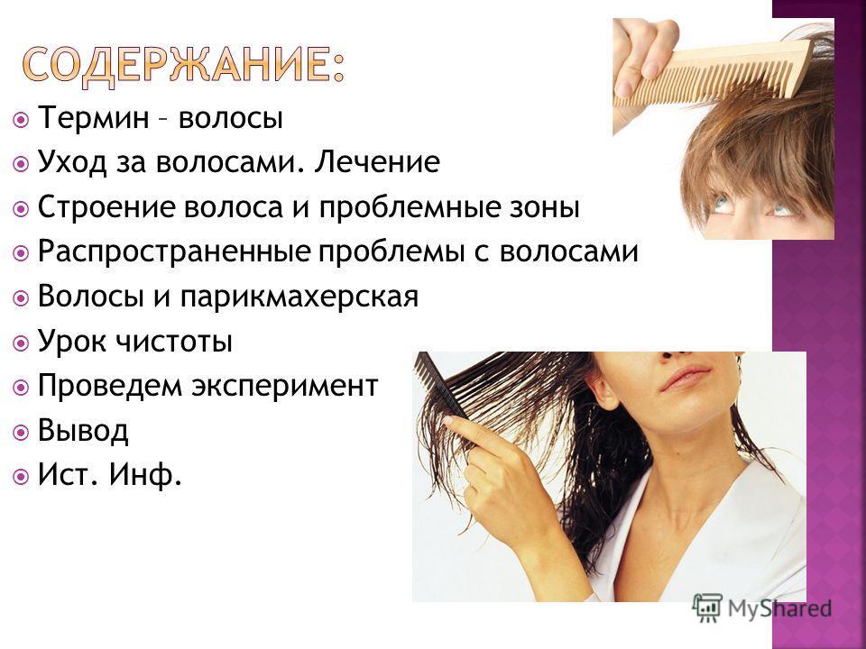 Термин – волосы Уход за волосами. Лечение Строение волоса и проблемные зоны Распространенные проблемы с волосами Волосы и парикмахерская Урок чистоты Проведем эксперимент Вывод Ист. Инф.