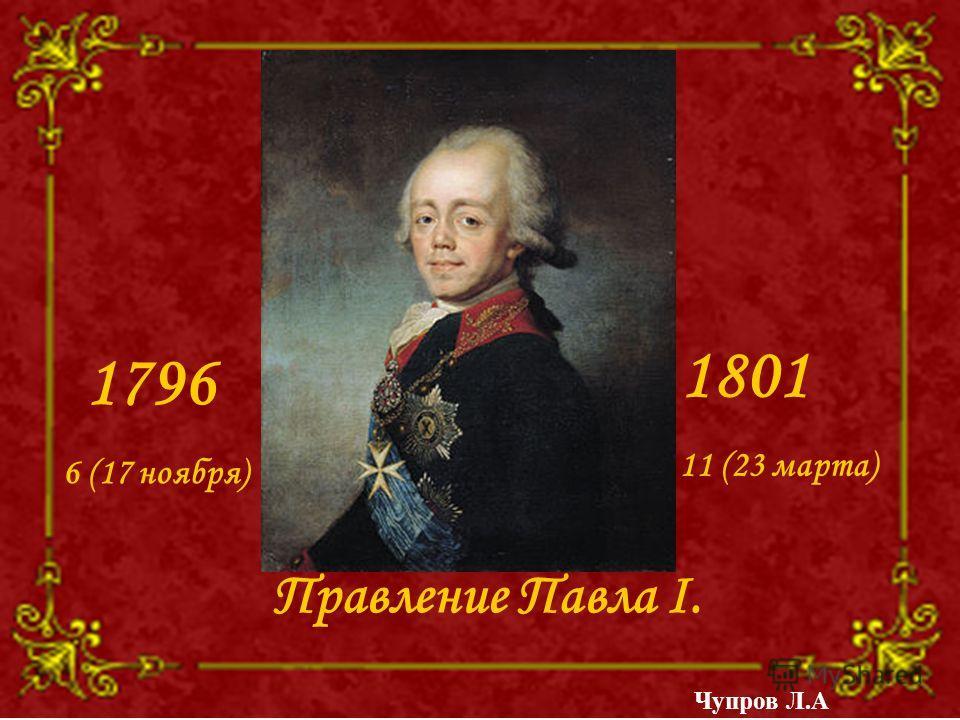 Правление Павла I. 1796 6 (17 ноября) 1801 11 (23 марта) Чупров Л.А