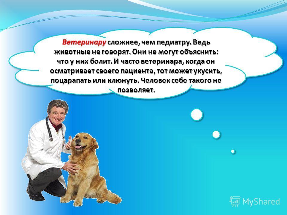 Ветеринару сложнее, чем педиатру. Ведь животные не говорят. Они не могут объяснить: что у них болит. И часто ветеринара, когда он осматривает своего пациента, тот может укусить, поцарапать или клюнуть. Человек себе такого не позволяет.