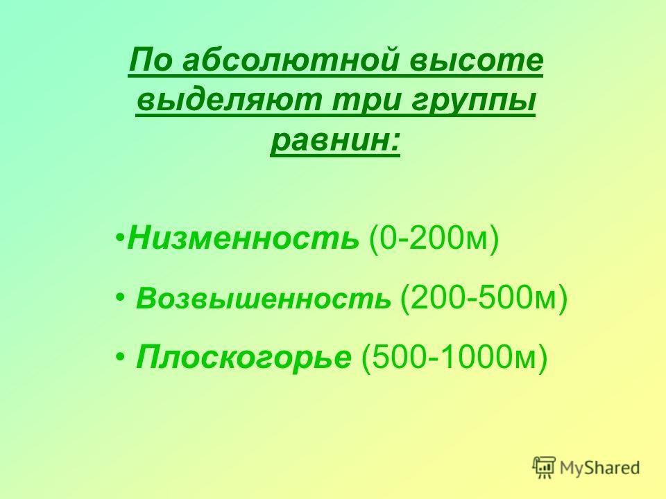 По абсолютной высоте выделяют три группы равнин: Низменность (0-200м) Возвышенность (200-500м) Плоскогорье (500-1000м)