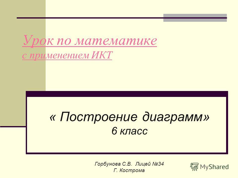 Урок по математике с применением ИКТ « Построение диаграмм» 6 класс Горбунова С.В. Лицей 34 Г. Кострома