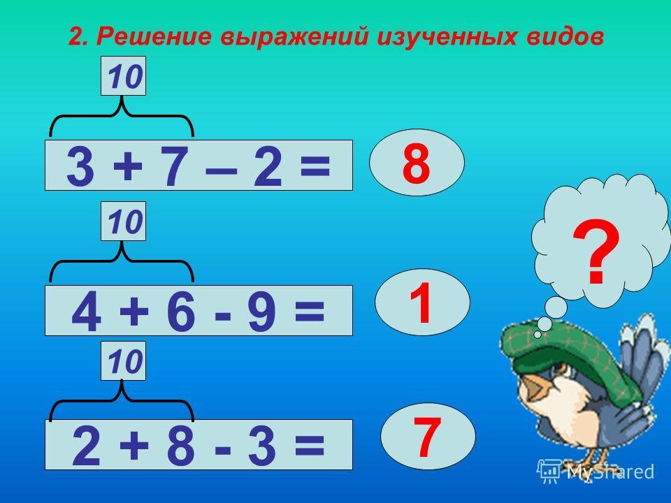 1. Знакомство с разрядным составом чисел в пределах 20. Образец рассуждения: 10 + 5 - это 15 – 5 – Из 1 десятка 5 единиц вычесть 5 единиц, получится 1 десяток, или число 15 – 10 - Из 1 десятка 5 единиц вычесть 1 десяток, получится 5 единиц, или число