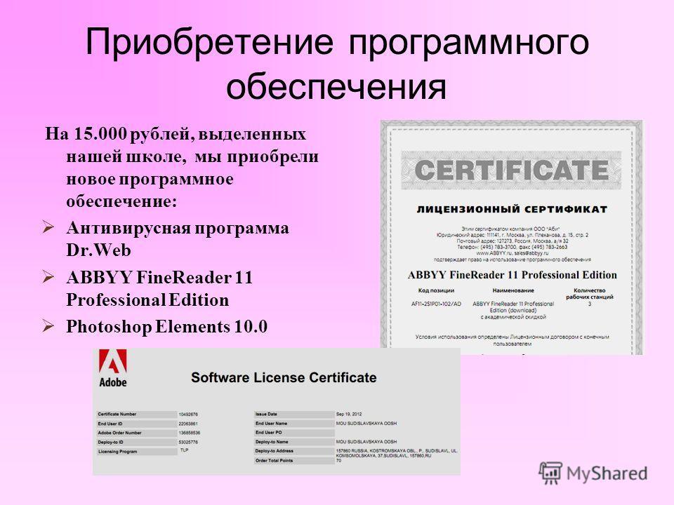Приобретение программного обеспечения На 15.000 рублей, выделенных нашей школе, мы приобрели новое программное обеспечение: Антивирусная программа Dr.Web ABBYY FineReader 11 Professional Edition Photoshop Elements 10.0