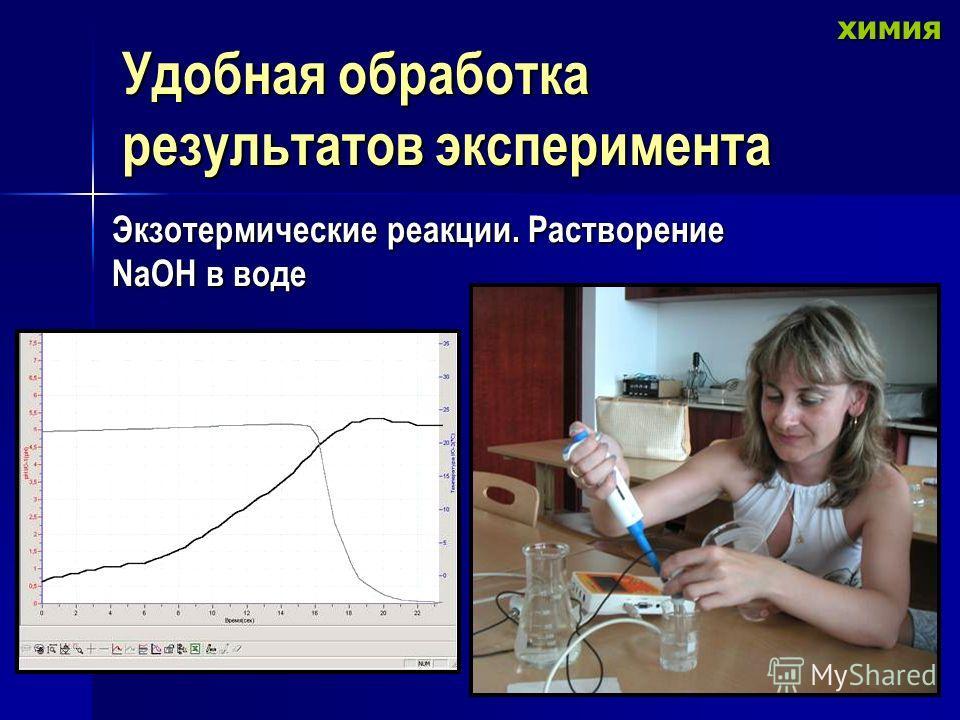 Удобная обработка результатов эксперимента Экзотермические реакции. Растворение NaOH в воде химия