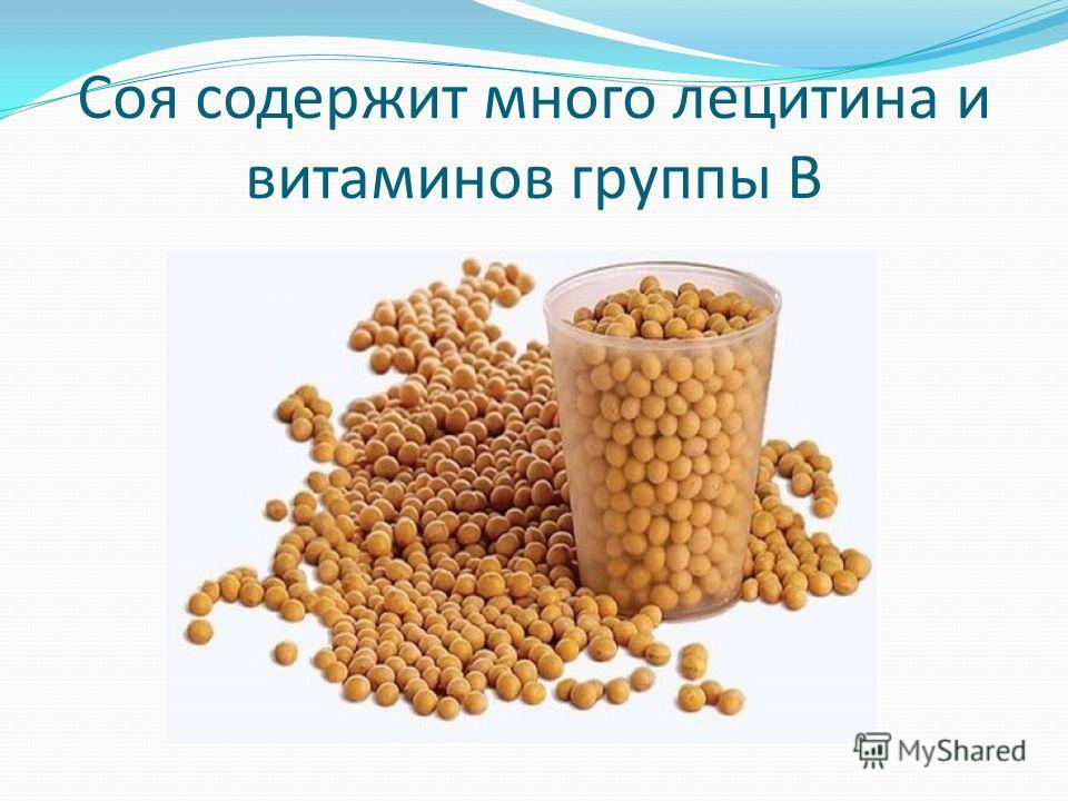 Соя содержит много лецитина и витаминов группы В