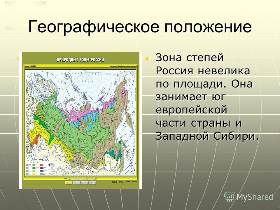 Географическое положение Зона степей Россия невелика по площади. Она занимает юг европейской части страны и Западной Сибири. Зона степей Россия невелика по площади. Она занимает юг европейской части страны и Западной Сибири.