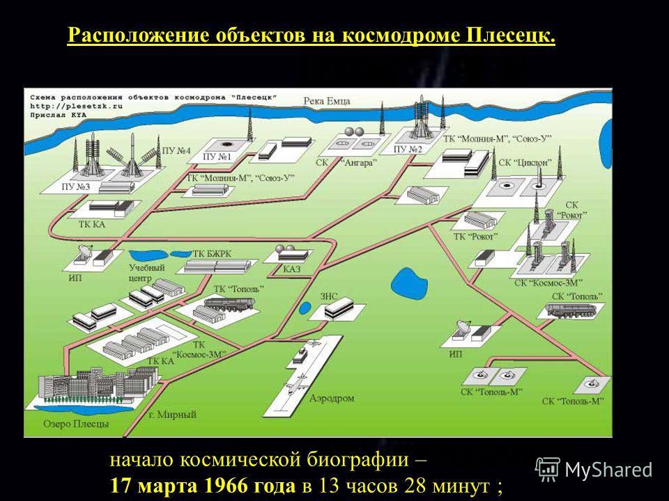 Расположение объектов на космодроме Плесецк. начало космической биографии – 17 марта 1966 года в 13 часов 28 минут ;