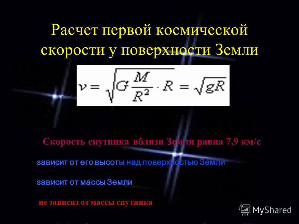Расчет первой космической скорости у поверхности Земли С Скорость спутника вблизи Земли равна 7,9 км/с зависит от его высоты над поверхностью Земли зависит от массы Земли н не зависит от массы спутника