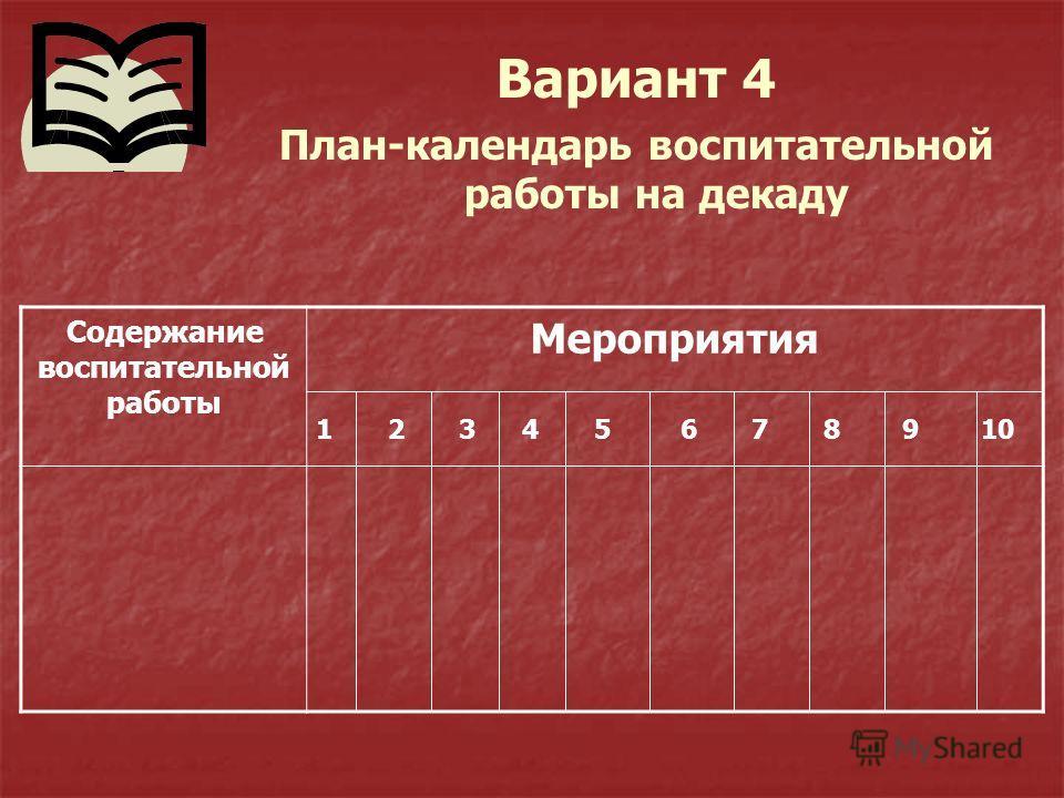 Вариант 4 План-календарь воспитательной работы на декаду Содержание воспитательной работы Мероприятия 1 2 3 4 5 6 7 8 9 10