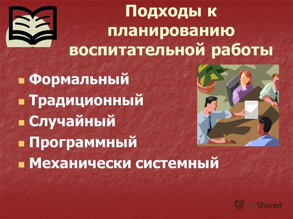 Подходы к планированию воспитательной работы Формальный Традиционный Случайный Программный Механически системный