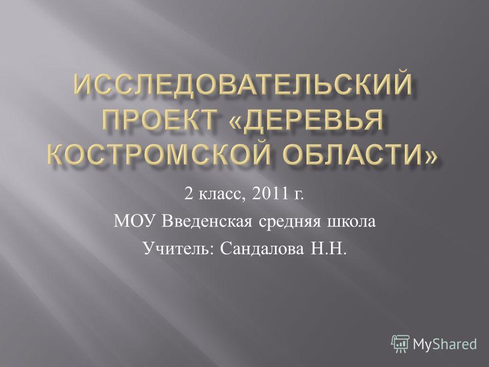 2 класс, 2011 г. МОУ Введенская средняя школа Учитель : Сандалова Н. Н.