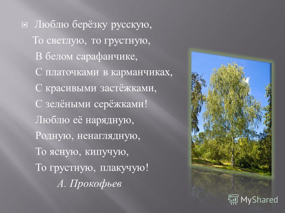 Люблю берёзку русскую, То светлую, то грустную, В белом сарафанчике, С платочками в карманчиках, С красивыми застёжками, С зелёными серёжками ! Люблю её нарядную, Родную, ненаглядную, То ясную, кипучую, То грустную, плакучую ! А. Прокофьев