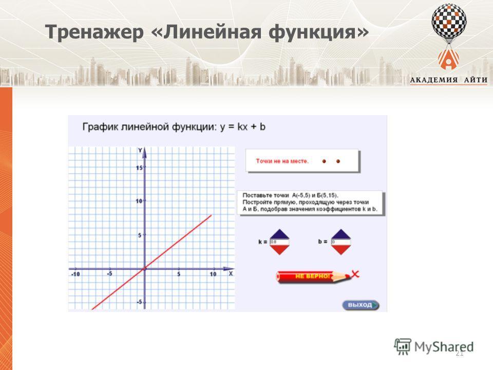Тренажер «Линейная функция» 21