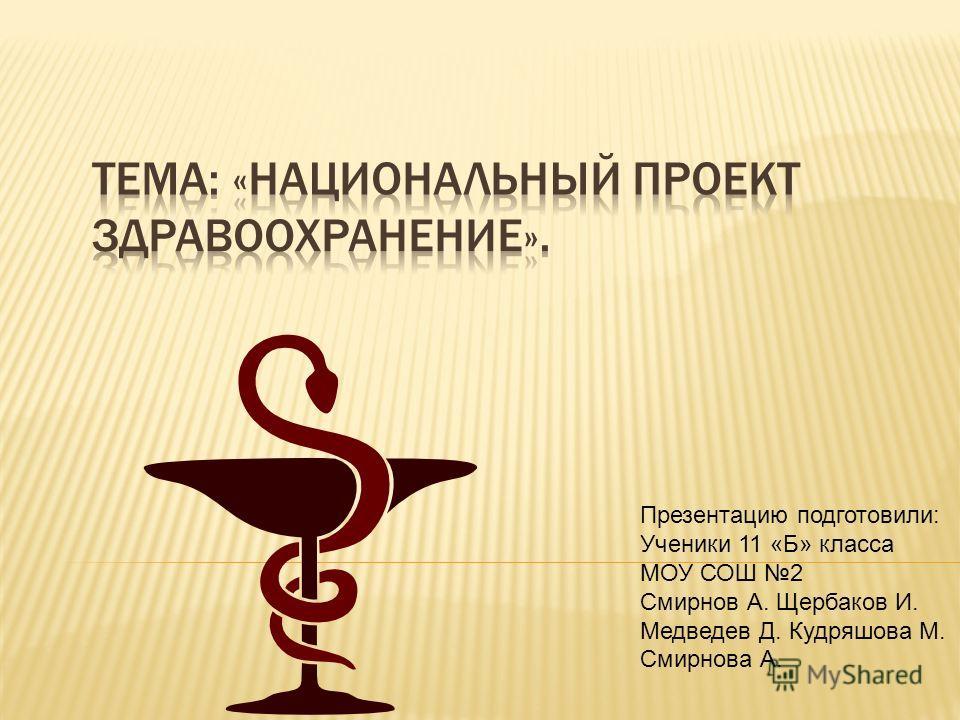 Презентацию подготовили: Ученики 11 «Б» класса МОУ СОШ 2 Смирнов А. Щербаков И. Медведев Д. Кудряшова М. Смирнова А.