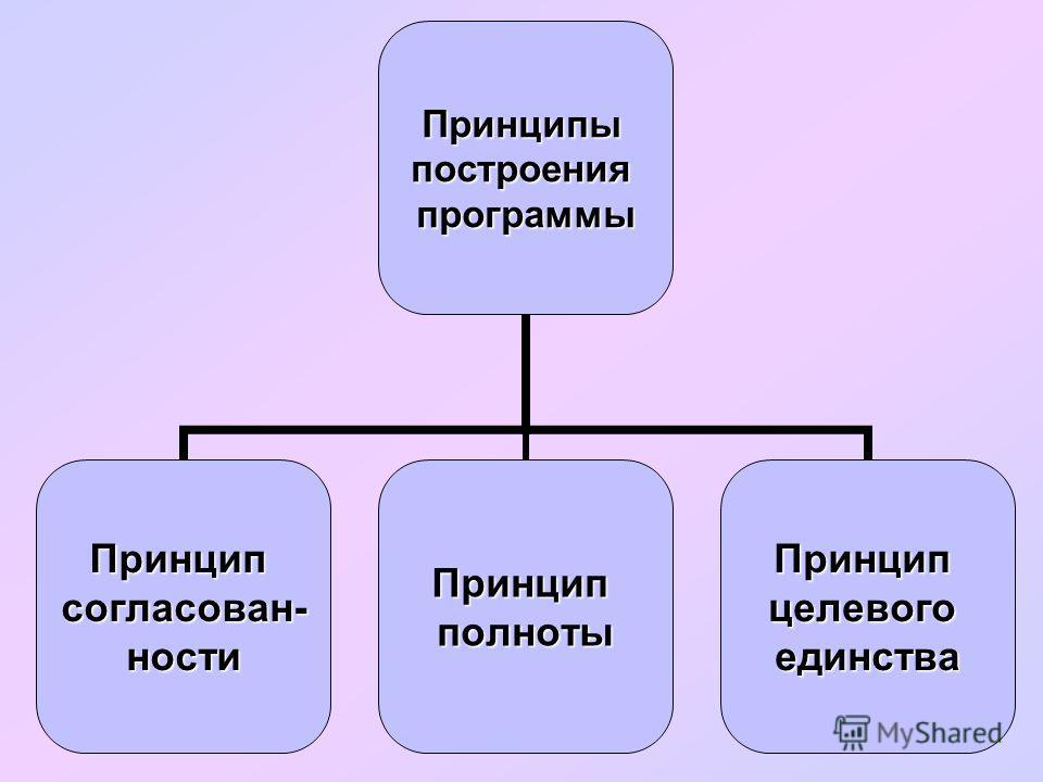 Принципыпостроенияпрограммы Принципсогласован-ностиПринципполнотыПринципцелевогоединства