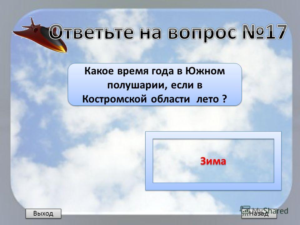 Назад Какое время года в Южном полушарии, если в Костромской области лето ? Зима Выход