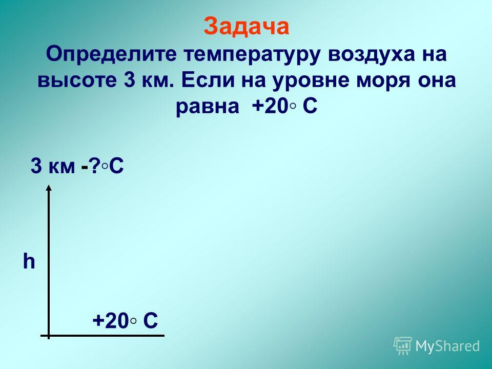 Задача Определите температуру воздуха на высоте 3 км. Если на уровне моря она равна +20 С h +20 С 3 км-?С-?С