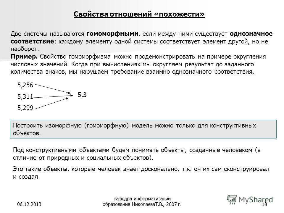 06.12.2013 кафедра информатизации образования НиколаеваТ.В., 2007 г.18 Две системы называются гомоморфными, если между ними существует однозначное соответствие: каждому элементу одной системы соответствует элемент другой, но не наоборот. Пример. Свой
