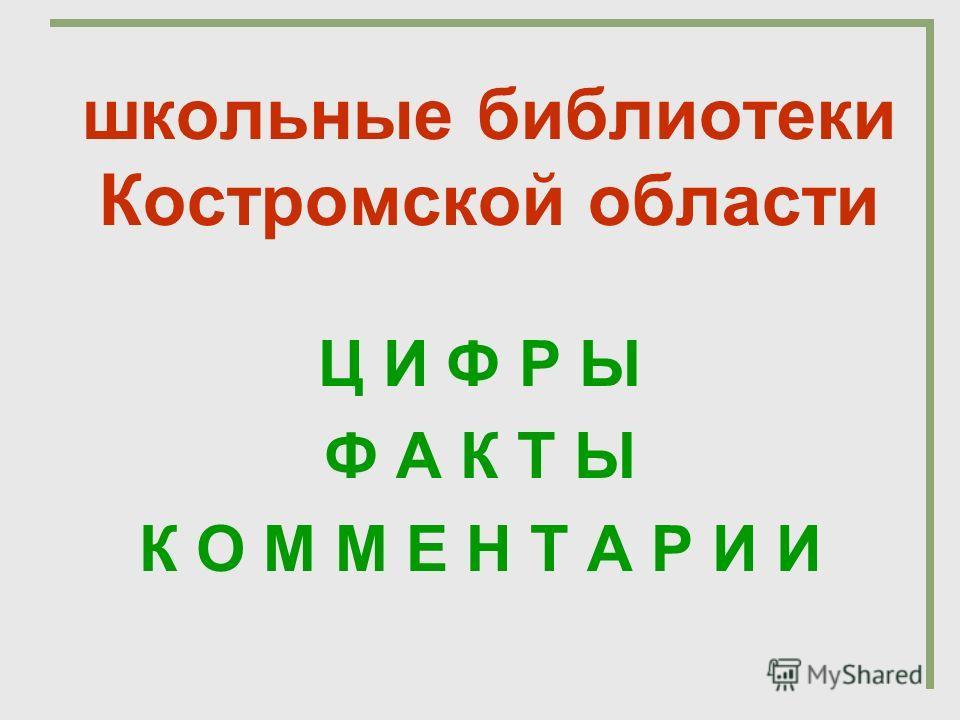 школьные библиотеки Костромской области Ц И Ф Р Ы Ф А К Т Ы К О М М Е Н Т А Р И И