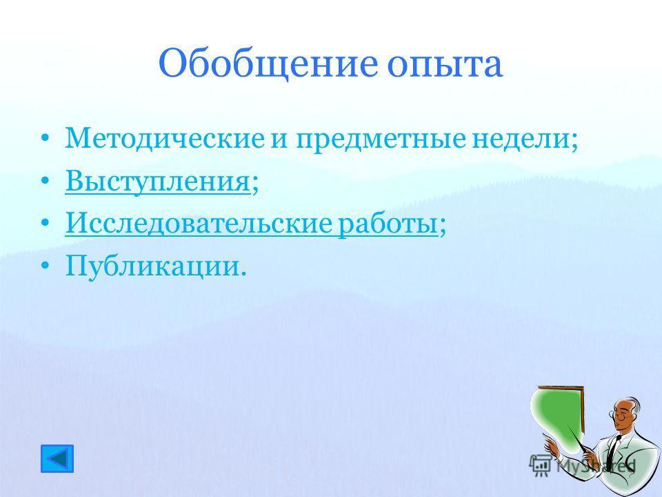 Обобщение опыта Методические и предметные недели; Выступления; Выступления Исследовательские работы; Исследовательские работы Публикации.