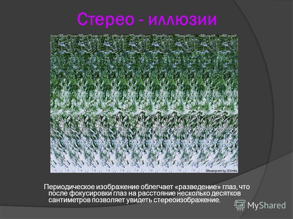 Стерео - иллюзии Периодическое изображение облегчает «разведение» глаз, что после фокусировки глаз на расстояние несколько десятков сантиметров позволяет увидеть стереоизображение.