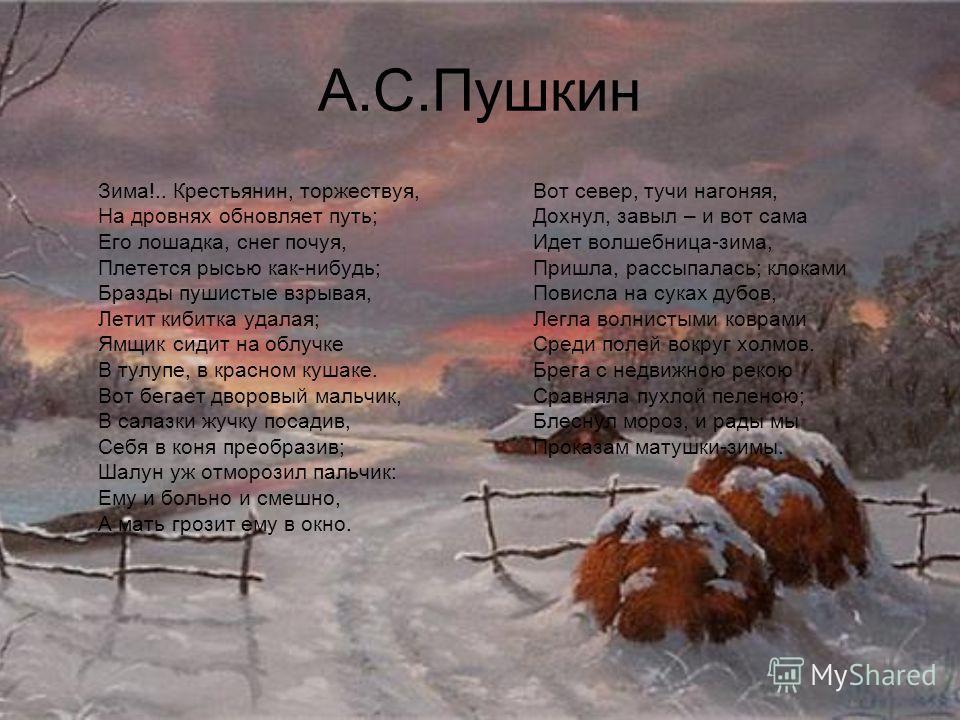Стих зима крестьянин торжествуя весь
