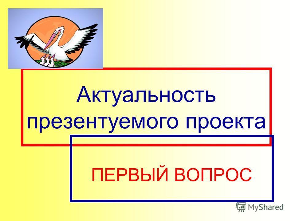 Актуальность презентуемого проекта ПЕРВЫЙ ВОПРОС