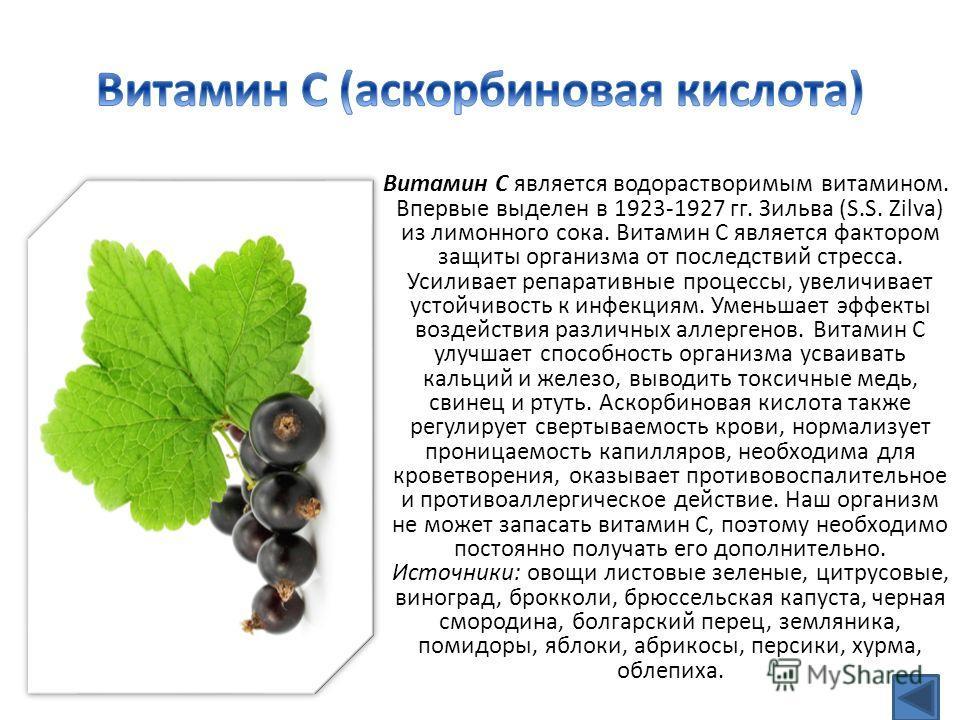 Витамин С является водорастворимым витамином. Впервые выделен в 1923-1927 гг. Зильва (S.S. Zilva) из лимонного сока. Витамин С является фактором защиты организма oт последствий стресса. Усиливает репаративные процессы, увеличивает устойчивость к инфе