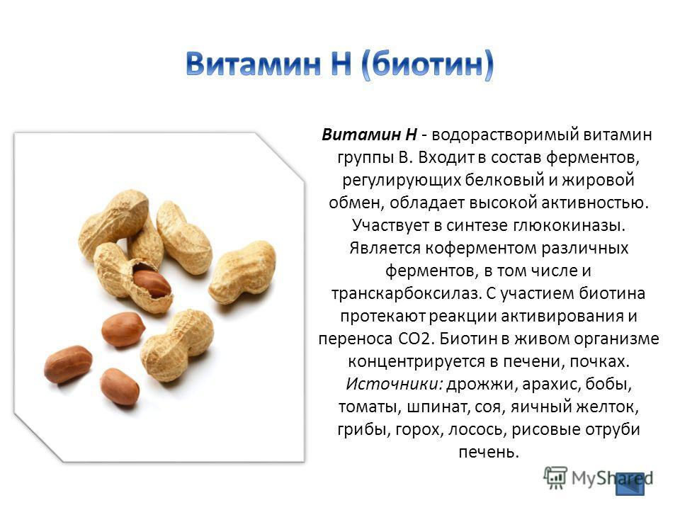 Витамин Н - водорастворимый витамин группы В. Входит в состав ферментов, регулирующих белковый и жировой обмен, обладает высокой активностью. Участвует в синтезе глюкокиназы. Является коферментом различных ферментов, в том числе и транскарбоксилаз. С