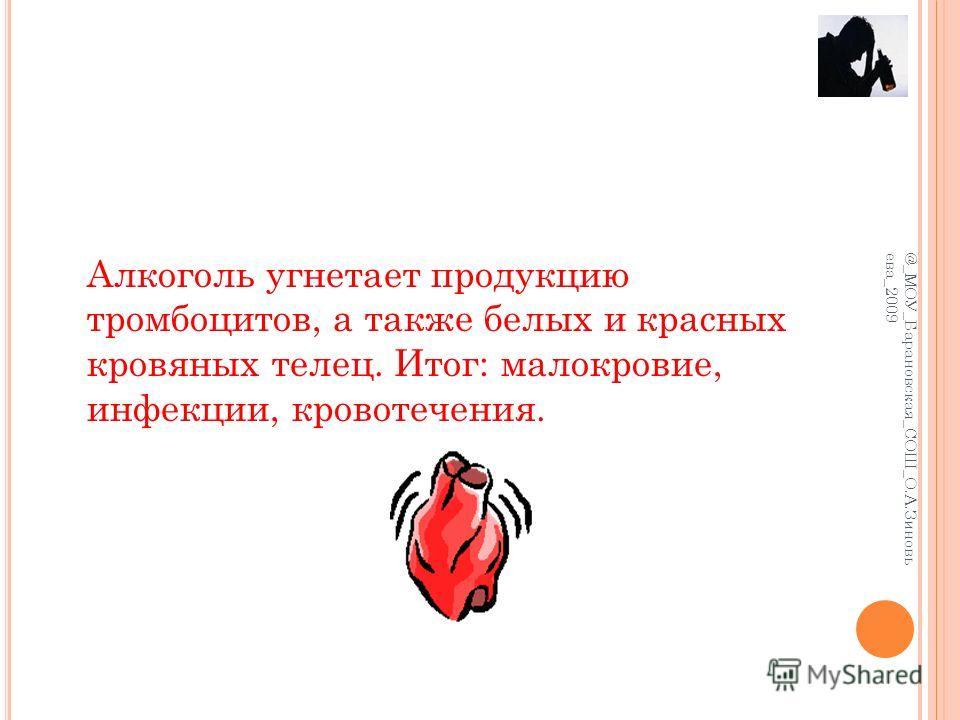 Алкоголь угнетает продукцию тромбоцитов, а также белых и красных кровяных телец. Итог: малокровие, инфекции, кровотечения. @_МОУ_Барановская_СОШ_О.А.Зиновь ева_2009