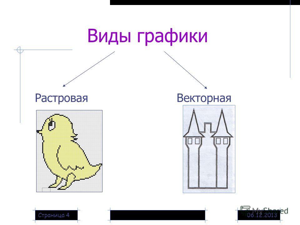 06.12.2013Страница 4 Виды графики РастроваяВекторная
