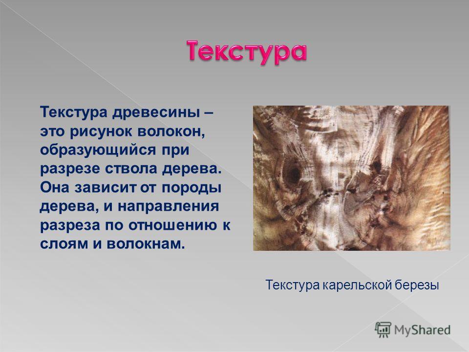 Текстура древесины – это рисунок волокон, образующийся при разрезе ствола дерева. Она зависит от породы дерева, и направления разреза по отношению к слоям и волокнам. Текстура карельской березы
