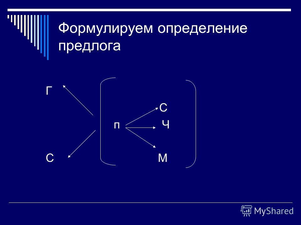 Формулируем определение предлога Г С п Ч С М