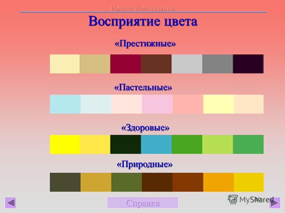 10 Восприятие цвета «Престижные» «Пастельные» «Здоровые» «Природные»