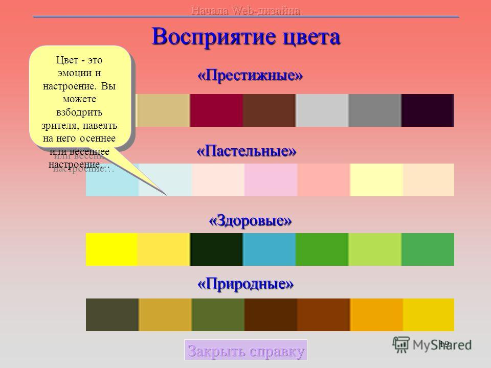 19 Восприятие цвета «Престижные» «Пастельные» «Здоровые» «Природные» Цвет - это эмоции и настроение. Вы можете взбодрить зрителя, навеять на него осеннее или весеннее настроение…