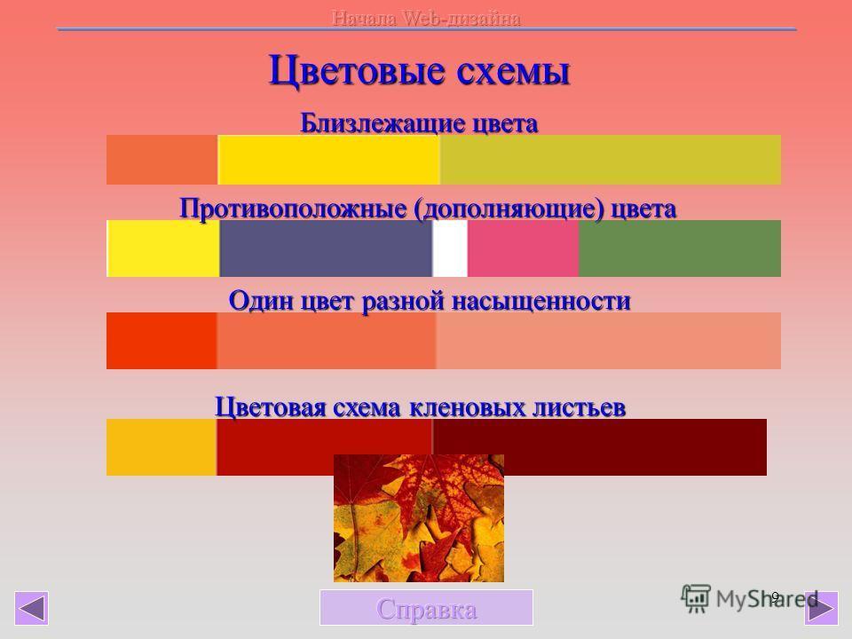 9 Цветовые схемы Близлежащие цвета Противоположные (дополняющие) цвета Один цвет разной насыщенности Цветовая схема кленовых листьев