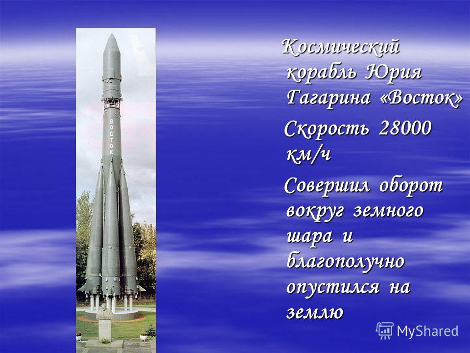 Космический корабль Юрия Гагарина «Восток» Космический корабль Юрия Гагарина «Восток» Скорость 28000 км/ч Скорость 28000 км/ч Совершил оборот вокруг земного шара и благополучно опустился на землю Совершил оборот вокруг земного шара и благополучно опу