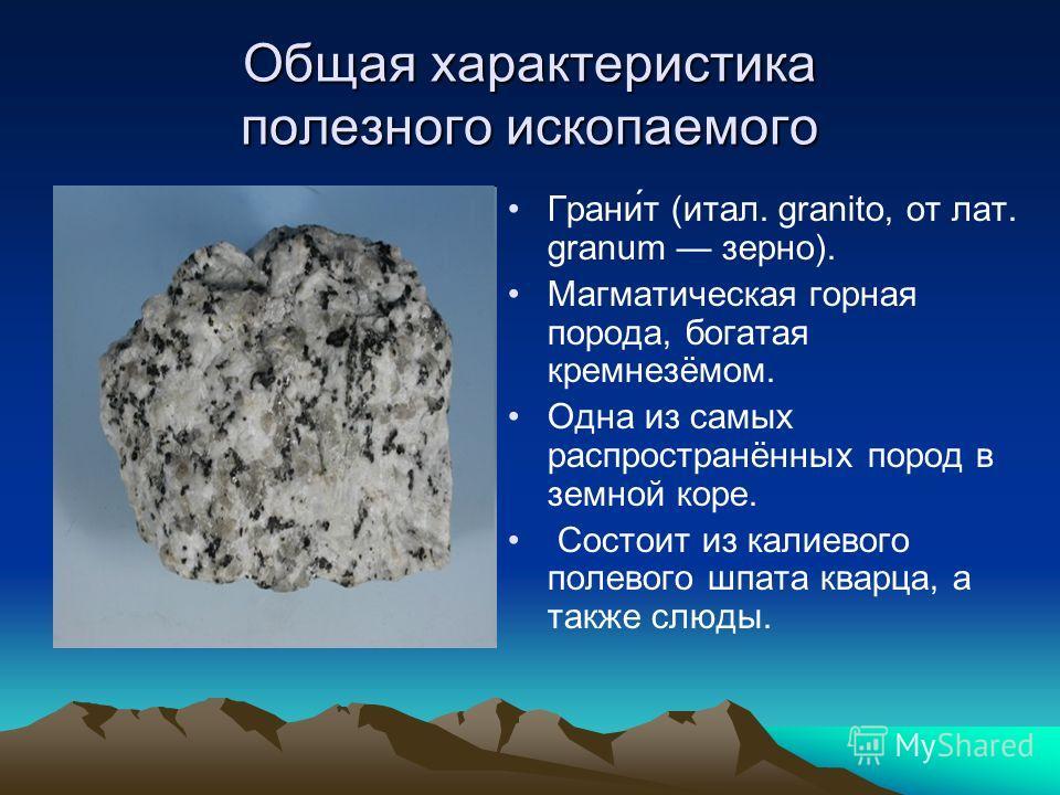 Общая характеристика полезного ископаемого Грани́т (итал. granito, от лат. granum зерно). Магматическая горная порода, богатая кремнезёмом. Одна из самых распространённых пород в земной коре. Состоит из калиевого полевого шпата кварца, а также слюды.
